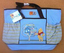 Diaper Bag Large Shoulder Straps Pooh Tree House Blue Brown Stripes New