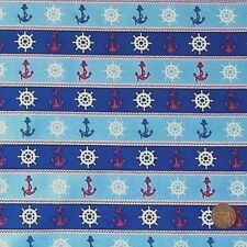 SHIPS WHEELS & ANCHORS BLUE FROM CRAFT COTTON CO.- 100% COTTON FABRIC FQ'S