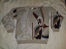 PROTEGE - Vtg 80s-90s Wild Abstract Cosby Ugly Sweater Men's XL COOL Made in USA