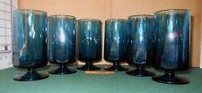 6 VintagePEACOCK BLUE Paneled Glass Wine Water Ice Tea GOBLETS