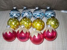 12VINTAGE CHRISTMAS TREE ORNAMENTS SHINY BRITE STENCILED MICA DOZEN