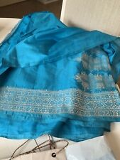1960s vintage Teal Blue silk Saree from Nairobi Kenya One Size Fits All.