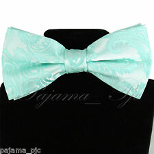 Aqua Mint Green Paisley Pre-tied Bow tie Wedding Formal Party Prom 20HH