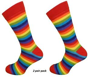 Mens 2 Pair Pack Rainbow Multi Striped Retro Socks