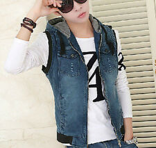Mens Hooded Denim Vests Sleeveless Retro Motor Jeans Jackets waistcoat Outwear