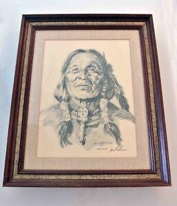 James Hutchinson Charcoal Drawing Artwork Florida Artist Indigenous Portrait