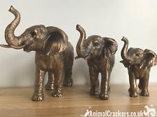 Bronzed Elephant FAMILY OF 3 quality ornaments Leonardo Bronzed range Gift boxed