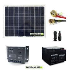 Kit pannello solare fotovoltaico 50W 12V batteria 24Ah 10m cavi 4mmq PVC