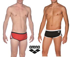 NEW Arena Men's Team Stripe Square Leg Swimsuit, Red/Black 001427501