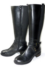 new NEW LOOK Black LEATHER BOOTS UK 5 / 38 Ladies Riding Knee High