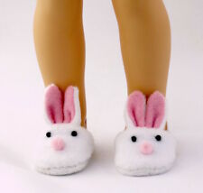 "White Bunny Slippers Fits 14.5"" Wellie Wisher American Girl Doll Shoes"