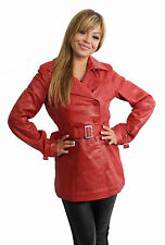 Button Leather Women's Trench Coats