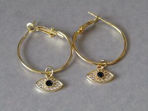 Cubic Zirconia Evil Eye Leaver Back Hoop Gold Plated Earrings - Stunning!