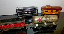 Vintage MARX Tin Santa Fe Middle States Oil Tanker UP Tender Caboose Train Cars