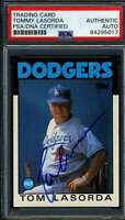 Tommy Lasorda PSA DNA Coa Autograph 1986 Topps Hand Signed