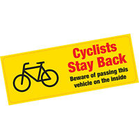 Cyclists Stay Back Beware of Passing on Inside Warning Vinyl Sticker HGV Lorry