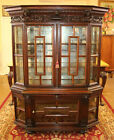 Late 19th Century Carved Oak Figural Display China Liquor Cabinet