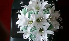 BRIDAL BOUQUET MINT GREEN ROSES WHITE LILY'S