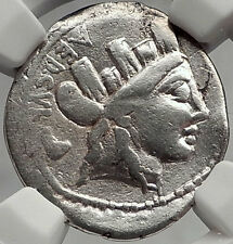 Roman Republic 84BC Rome Authentic Ancient Silver Coin ROMA & CHAIR NGC i61952