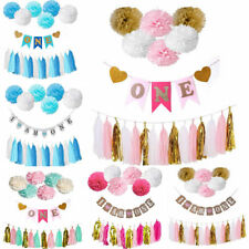 1st Birthday Bunting Banner Set Paper Tassel Pompom Baby First Party Hanging
