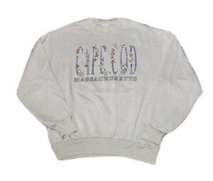VTG 1990s Unbranded Cape Cod Floral Spell Out Graphic Crewneck Sweatshirt size L