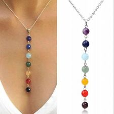Jewelry 7 Chakra Beads Yoga Pendant Necklace Natural Reiki Healing GEMSTONE