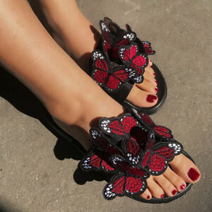 Women Fashion Summer Butterfly Slip On Sliders Slippers Mules Flat Sandals Shoes