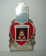 Antique German Valentines Card - Mechanical Real Moving