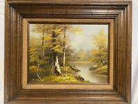 Original Signed K Schmidt Oil Painting On Canvas In Vintage 24X20 Wood Frame