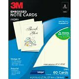 "1 Pack NEW 3M C519-I Embossed Note Cards (Ivory) 60 cards 4.25"" x 5.5"" Ink Jet"