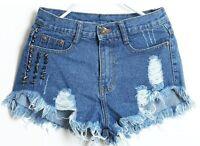 Women's Ripped  Studded Denim Shorts Size:8,10