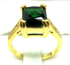 women's nice fashion jewelry 10KT yellow gold filled emerald wedding ring SZ:8