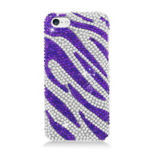 For Apple iPhone 5C Crystal BLING Hard Case Phone Cover Silver Purple Zebra