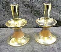 Mid Century Modern Danish Modern Taper Brass & Teak Candle Holders x2