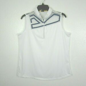Jamie Sadock White Golf Polo Shirt  Seeveless Top 1/4 Zip Abstract Breathable