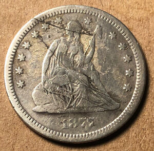 1877-CC Carson City Silver Seated Liberty Quarter - XF DETAILS SCRATCHES
