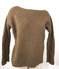 Vince Sweater Size XS Brown Rib Knit Dolman Sleeve Alpaca Tunic Boxy Hi Lo Hem