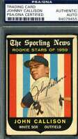 Roy Sievers 1959 Topps Psa Dna Coa Autograph Authentic Hand Signed