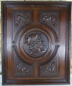 French Antique Deep Carved oAK Wood Panel/Door - Medieval Soldier