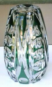 LEAD CRYSTAL GREEN VASE CUT TO CLEAR, 7+ INCHES TALL, HEAVY