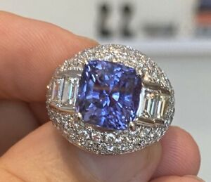 Sensational Unheated 7.02ct Blue Sapphire Platinum & Diamond Ring GIA