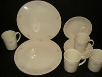 Corelle English Breakfast lot of 4 Dinner Plates 4 Dessert Plates 4 Coffee Mugs