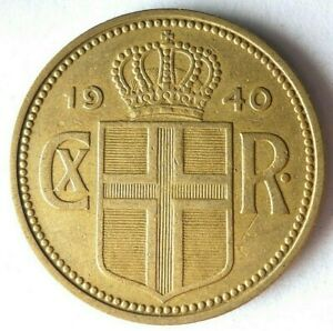 1940 ICELAND 2 KRONUR - RARE DATE - High Quality Low Mintage Coin - Lot #L22