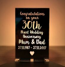 Personalised 30th Pearl Wedding Anniversary Gifts Candle Holder Mum Dad Present
