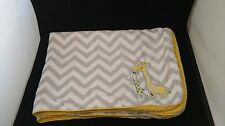 Carters Just One You Giraffe Yellow Grey White Sherpa Baby Blanket Chevron