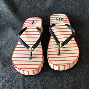 Tory Burch Wedge Flip Flop Sandals Thong Size 7 Orange Blue Stripe