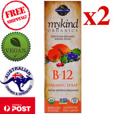 2x Garden of Life MyKind Organics B-12 Organic Vegan Spray Raspberry 2 oz, 58 ml