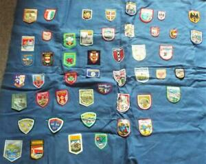 Vintage Cloth Patch Badges Collection of 49 European Patch Badges on Cloth Panel