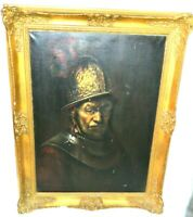 Antique Man with Golden Helmet Rembrant Oil Painting Canvas Signed Gilt Frame