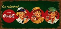 COCA COLA US MILITARY WOMEN HEAVY DUTY USA MADE METAL SODA POP ADVERTISING SIGN